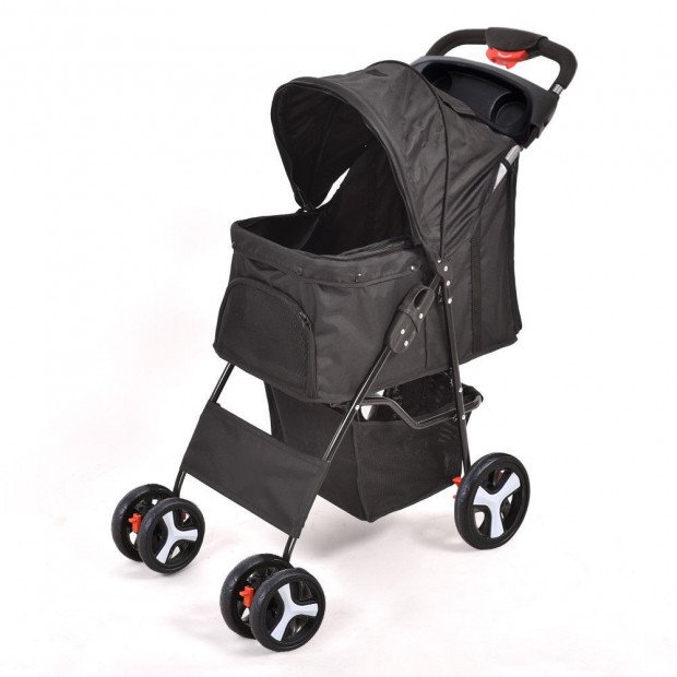 Deluxe Foldable Dog Cat Pet Stroller Travel Carrier Portable - Black