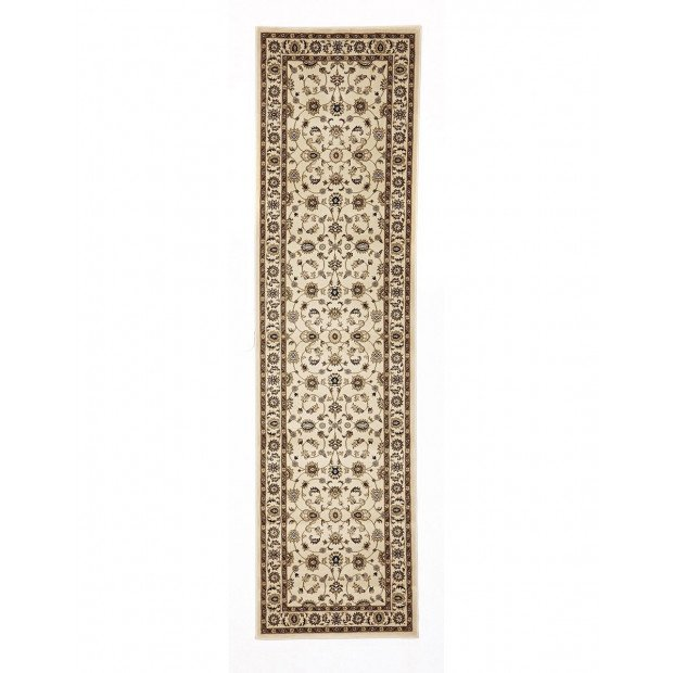 Classic Hall Runner Rug Ivory With Ivory Border