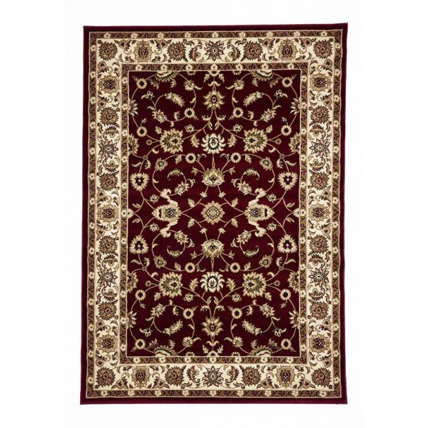 Classic Floor Rug Red With Ivory Border