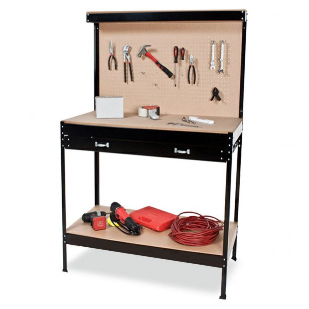 2-Layer Work Bench Garage Storage Table Tool Shop Shelf