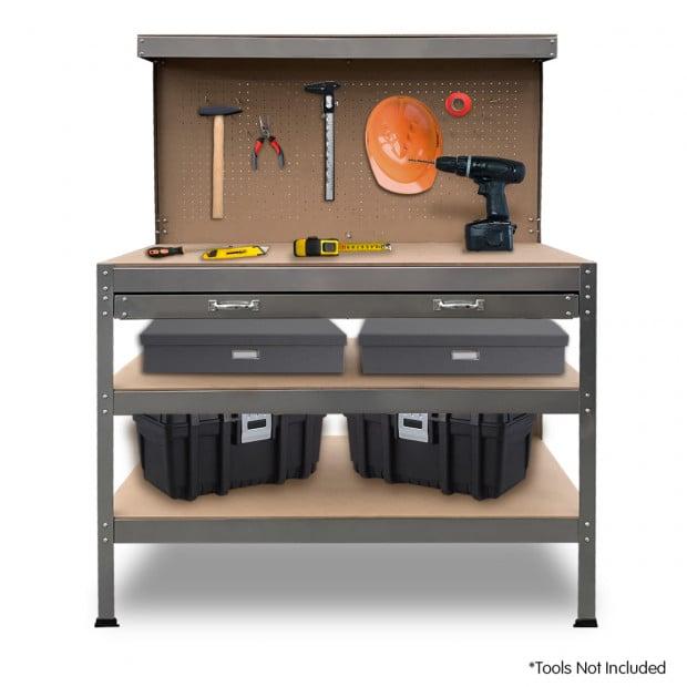 3-Layered Work Bench Garage Storage Table Tool Shop Shelf Silver