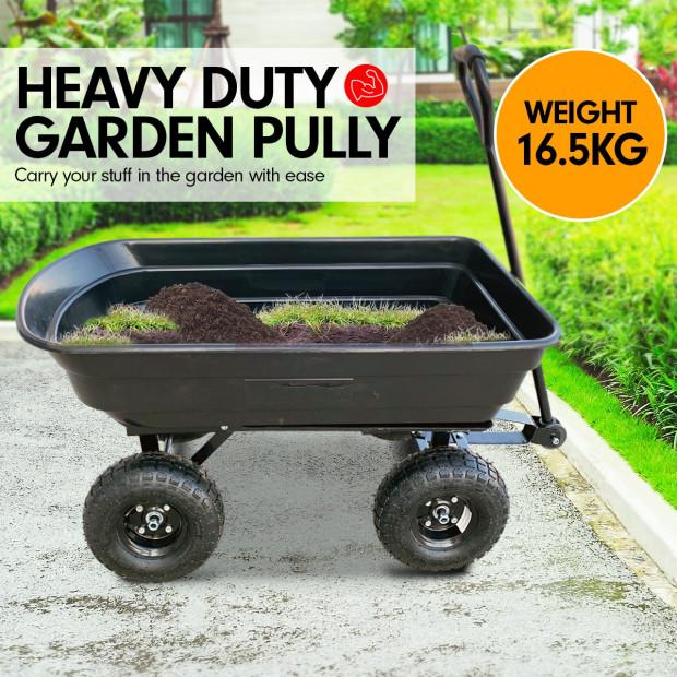 Garden Dump Cart Dumper Wagon Carrier Wheel Barrow  75L Image 2
