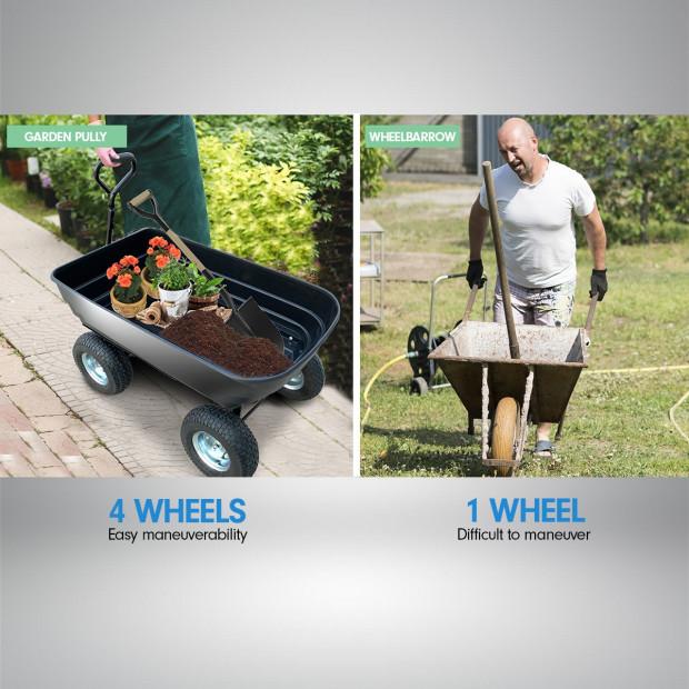 Garden Dump Cart Dumper Wagon Carrier Wheel Barrow  75L Image 3
