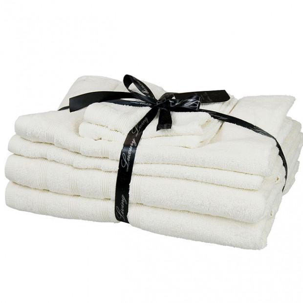 Six piece Egyptian cotton towel gift set -  Vanilla