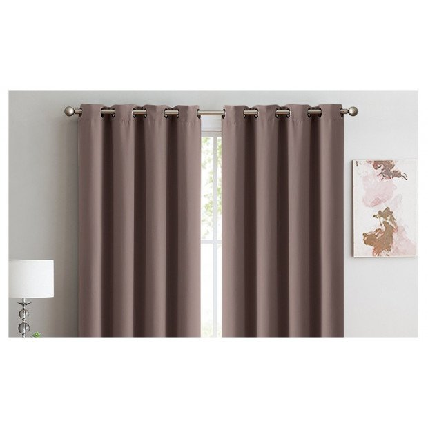 2x 100% Blockout Curtains Panels 3 Layers Eyelet Taupe 140x230cm