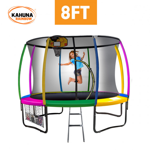 Kahuna 8 ft Trampoline with Rainbow Safety Pad