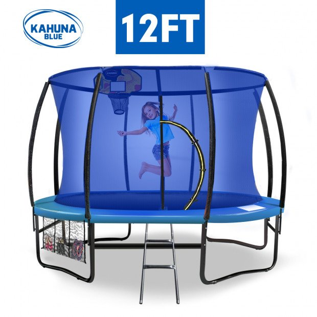Kahuna 12 ft Trampoline with Blue Safety Net and Pad