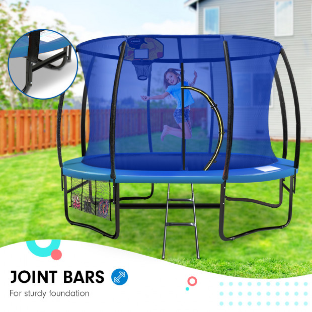 Kahuna 12 ft Trampoline with Blue Safety Net and Pad Image 3
