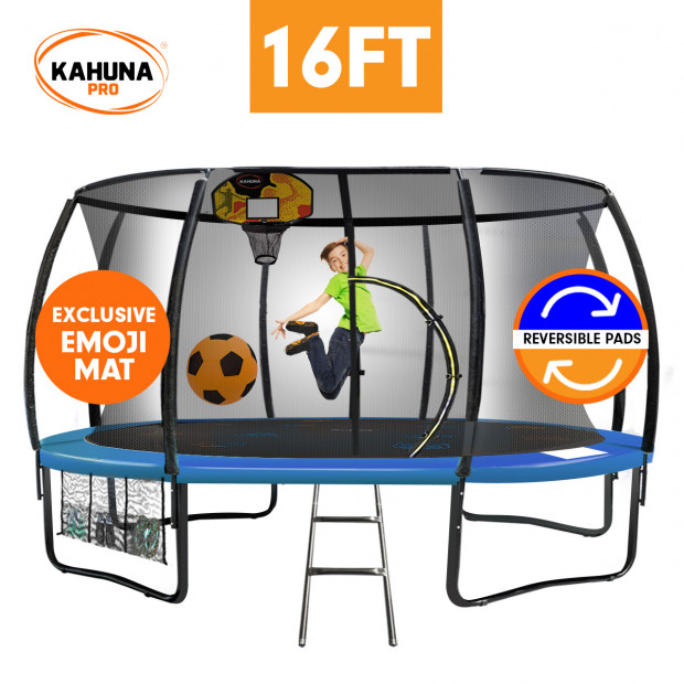 Kahuna Pro 16 ft Trampoline with Emoji Mat Reversible Pad Basketball Set