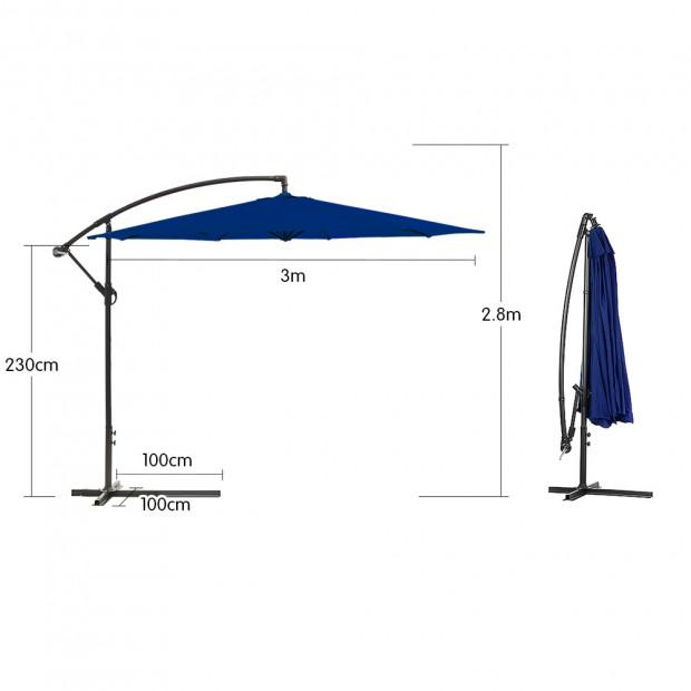 3m Cantilever Market Umbrella - Blue Image 2