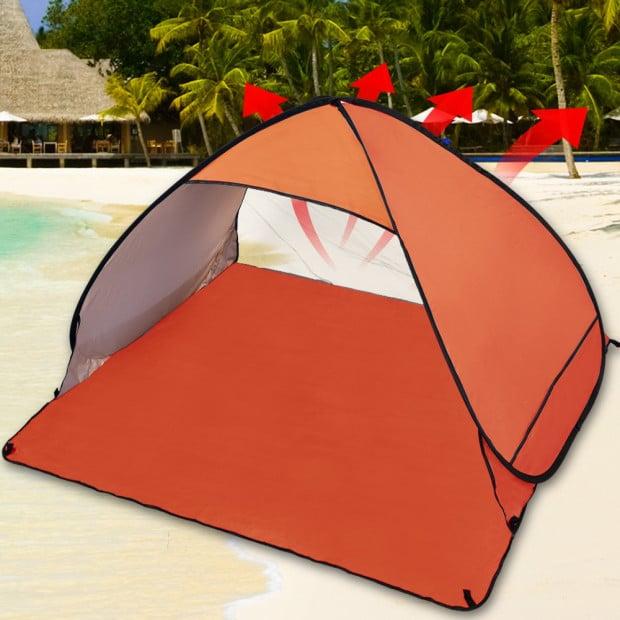 Pop Up Portable Beach Tent Sun Shade Shelter Orange