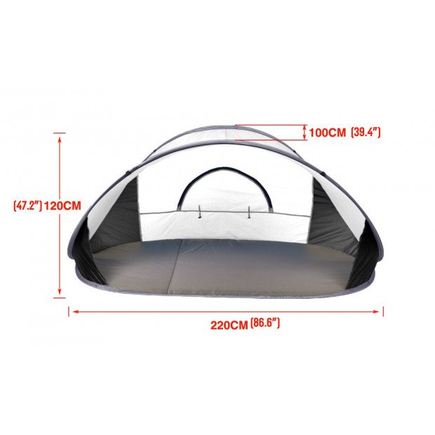 Pop Up Grey Camping Tent Beach Portable Hiking Sun Shade Shelter Image 4