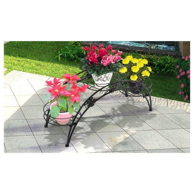 Outdoor Indoor Pot Plant Stand Garden Dcor Black