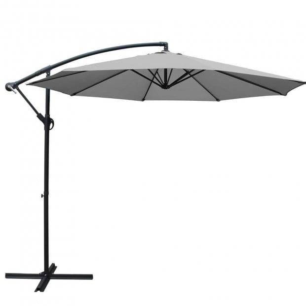 3M Outdoor Furniture Garden Umbrella Grey Image 1