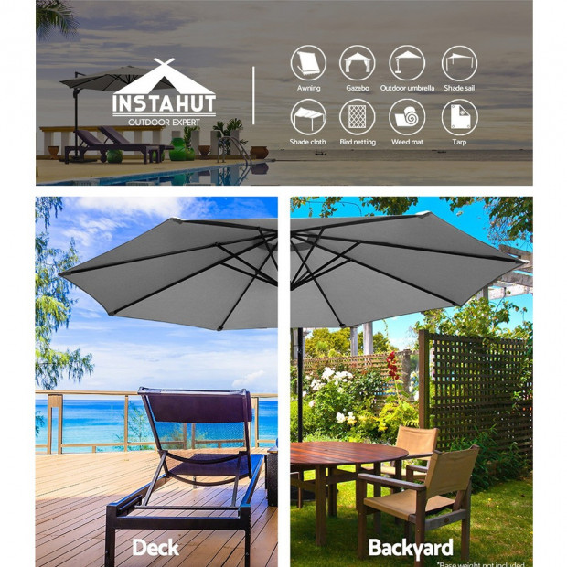 3M Outdoor Furniture Garden Umbrella Grey Image 3