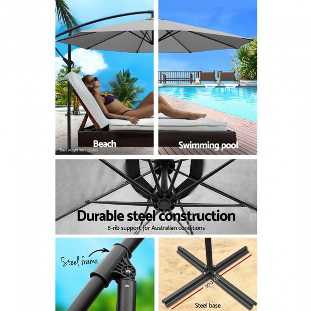 3M Outdoor Furniture Garden Umbrella Grey Image 4