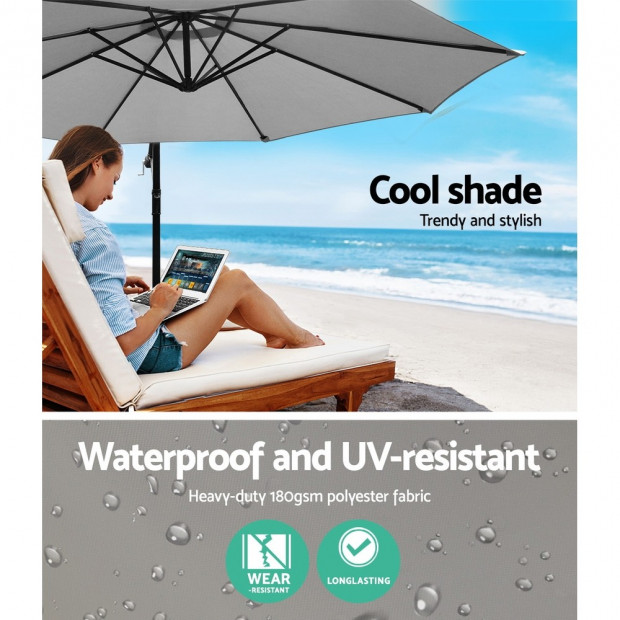 3M Outdoor Furniture Garden Umbrella Grey Image 5