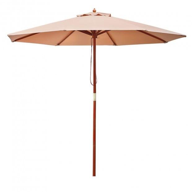 2.7M Outdoor Pole Umbrella Cantilever Stand Garden Umbrellas Beige