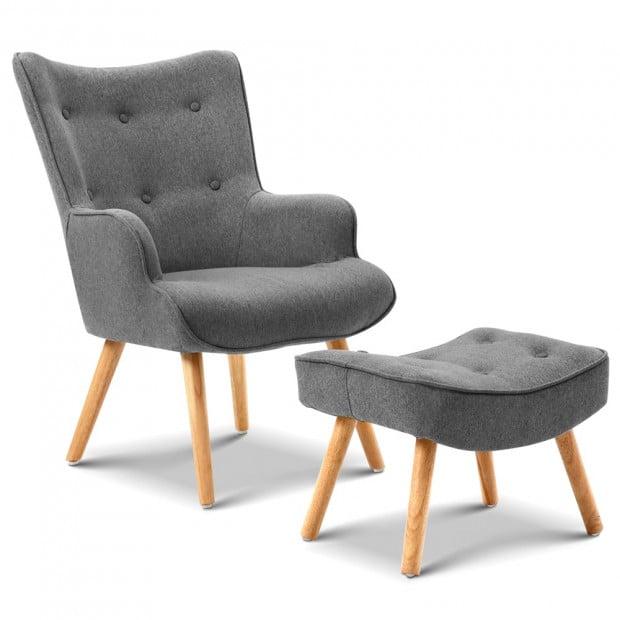Scandinavian style Armchair and Ottoman - Grey Image 1