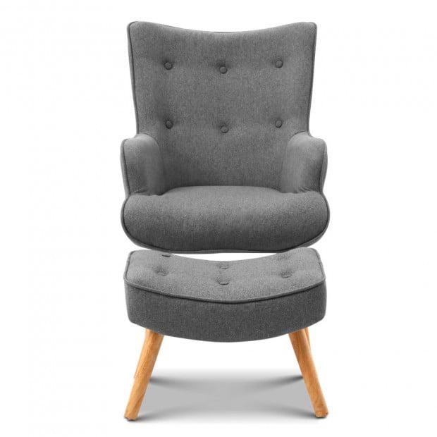 Scandinavian style Armchair and Ottoman - Grey Image 2