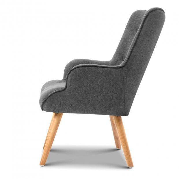 Scandinavian style Armchair and Ottoman - Grey Image 3