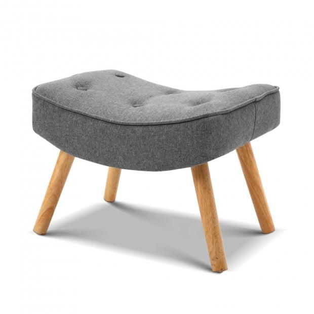 Scandinavian style Armchair and Ottoman - Grey Image 5
