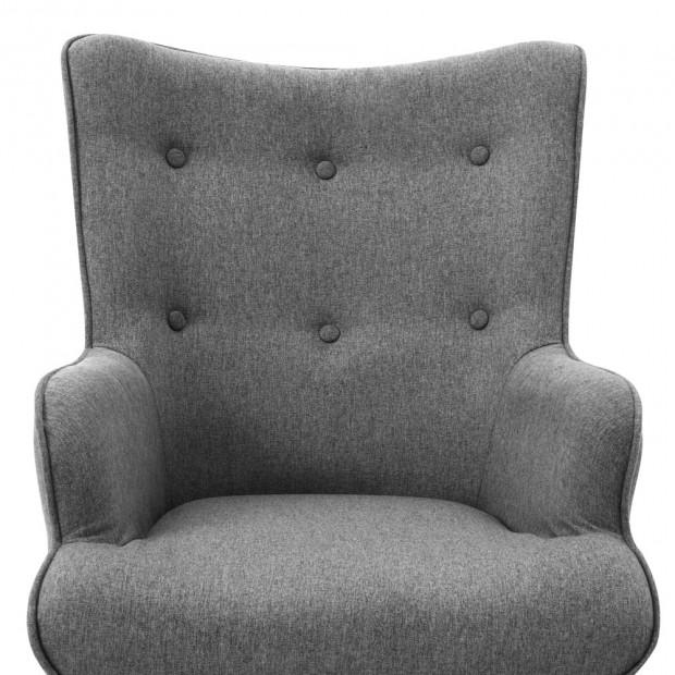 Scandinavian style Armchair and Ottoman - Grey Image 6
