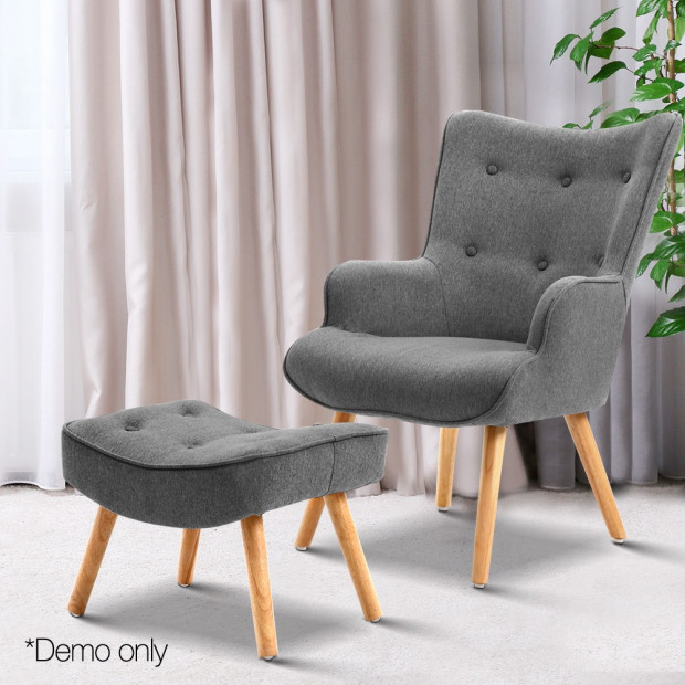 Scandinavian style Armchair and Ottoman - Grey Image 9