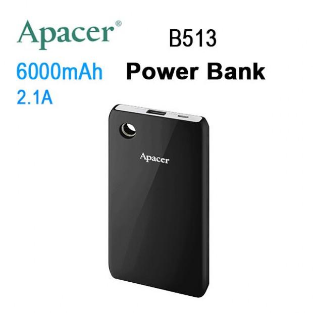 APACER Mobile Power Bank B513 6000mAh Black RP