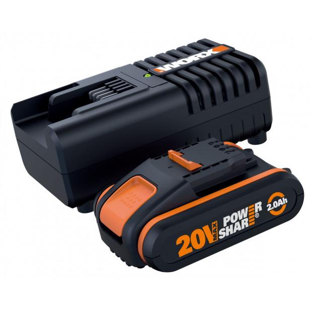 WORX WA3601 Powershare 20V 2.0Ah MAX Lithium-ion Battery & Charger Kit