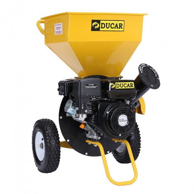 Ducar 8HP Wood Chipper Shredder Mulcher Petrol Yellow Black