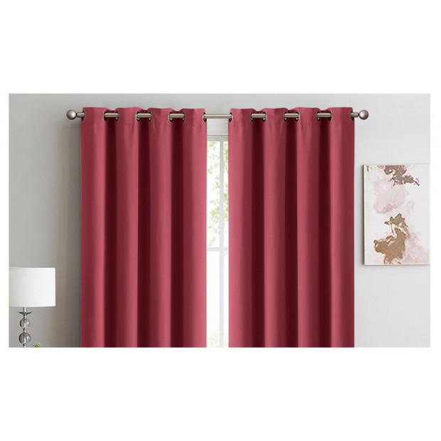2x 100% Blockout Curtains Panels 3 Layers Eyelet Wine 300x230cm