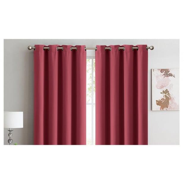 2x 100% Blockout Curtains Panels 3 Layers Eyelet Wine 140x230cm