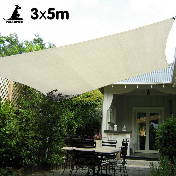 Wallaroo Waterproof Shade sail 3 x 5m Rectangle
