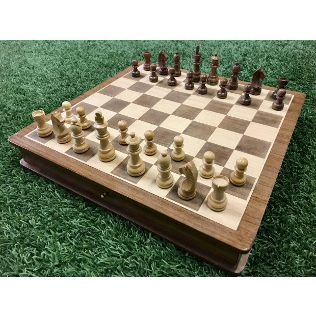 Portable Carved Wooden Chess And Checker Board Set Image 2