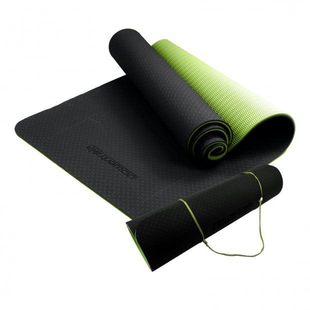Powertrain Eco Friendly TPE Yoga Exercise Pilates Mat - Black Green