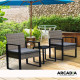 Furniture Outdoor 3 Piece Wicker Rattan Patio Set  Oatmeal and Grey Image 2 thumbnail