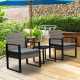 Furniture Outdoor 3 Piece Wicker Rattan Patio Set  Oatmeal and Grey Image 8 thumbnail
