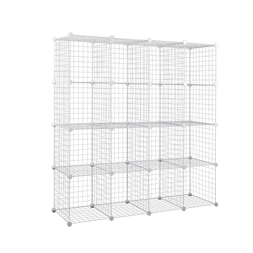 16 Cube Metal Wire Storage Cabinet - Black