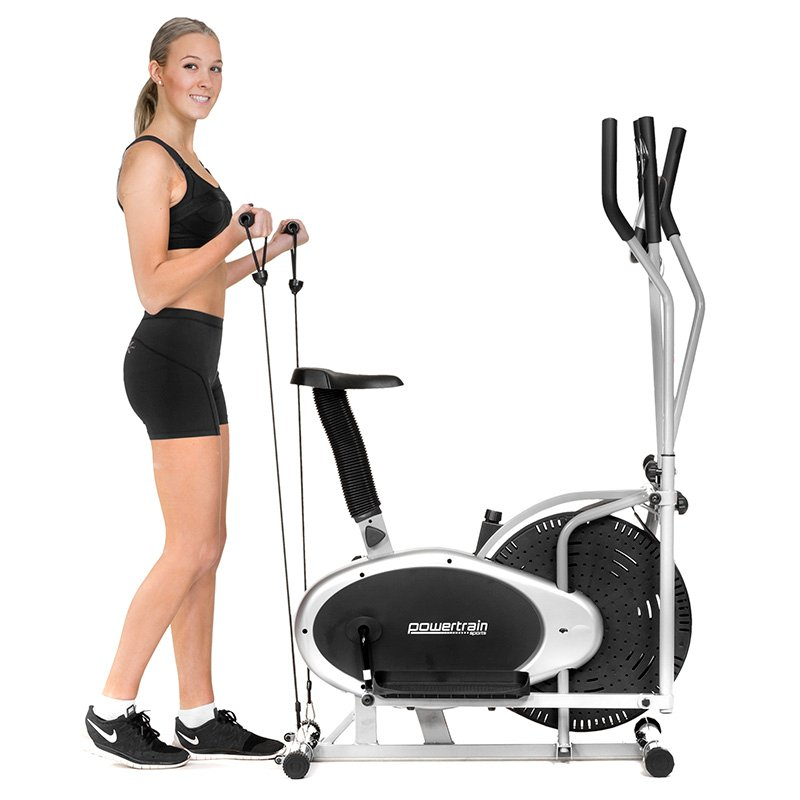 Powertrain 3-in-1 Elliptical cross trainer bike with Resistance Bands