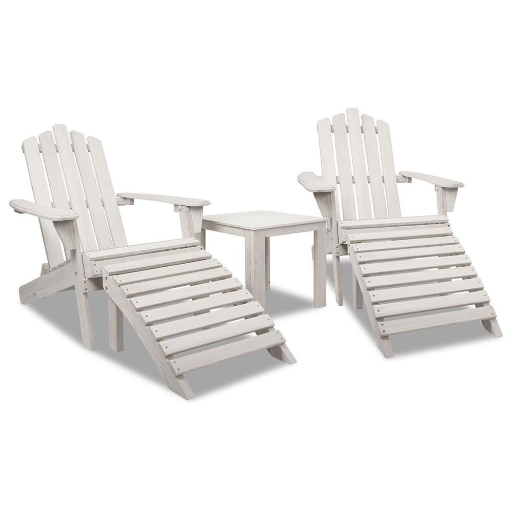 Gardeon 5pc Outdoor Wooden Adirondack Chair and Table Set - Beige White