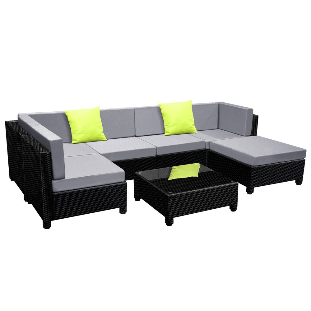 7 Piece Outdoor Wicker Rattan Sofa Lounge Set - Black
