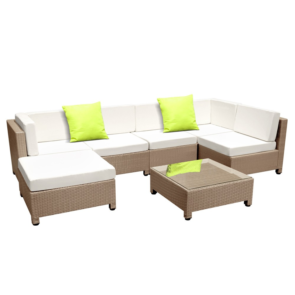 7 Piece Outdoor Wicker Rattan Sofa Lounge Set - Beige