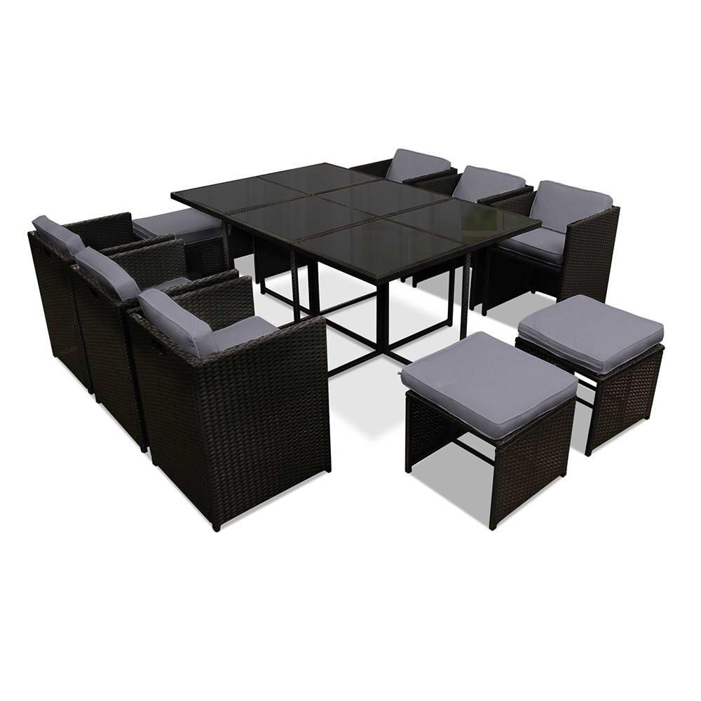 Gardeon 11 Piece PE Wicker Outdoor Dining Set - Black