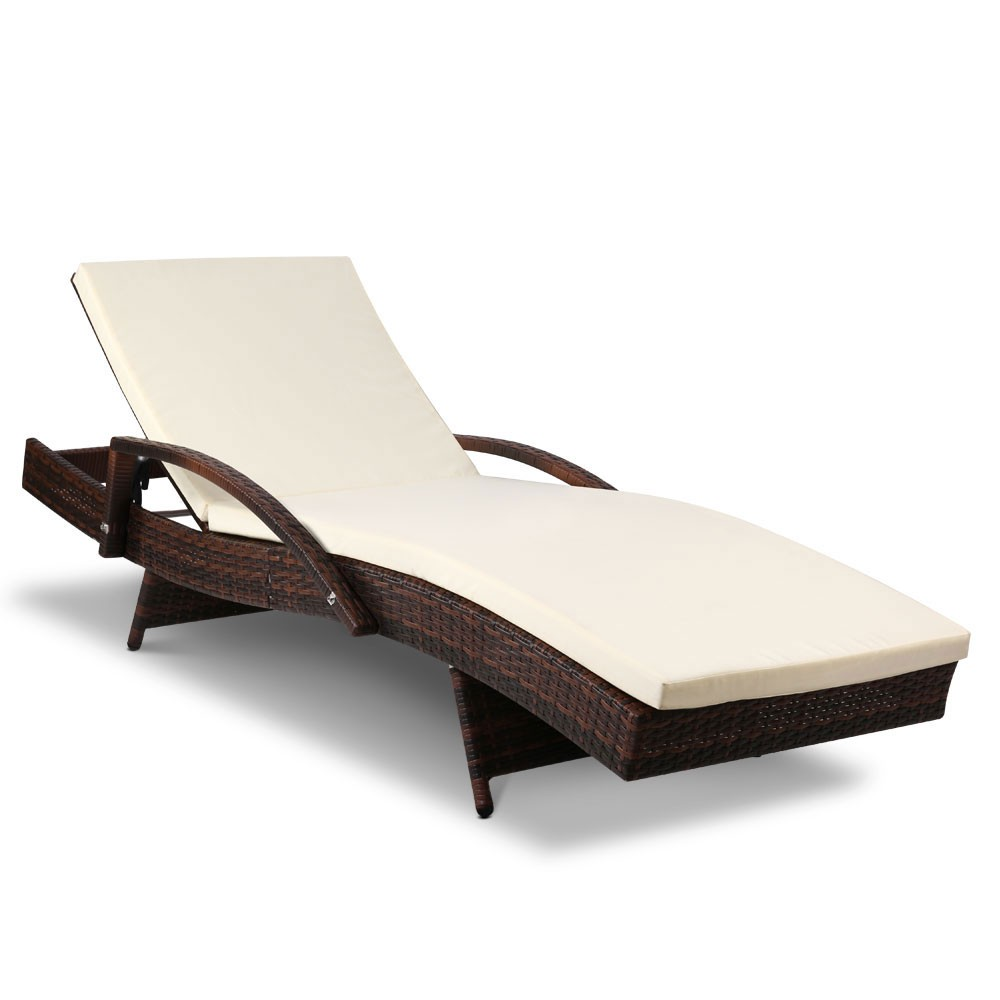 Gardeon Outdoor Sun Lounge - Brown