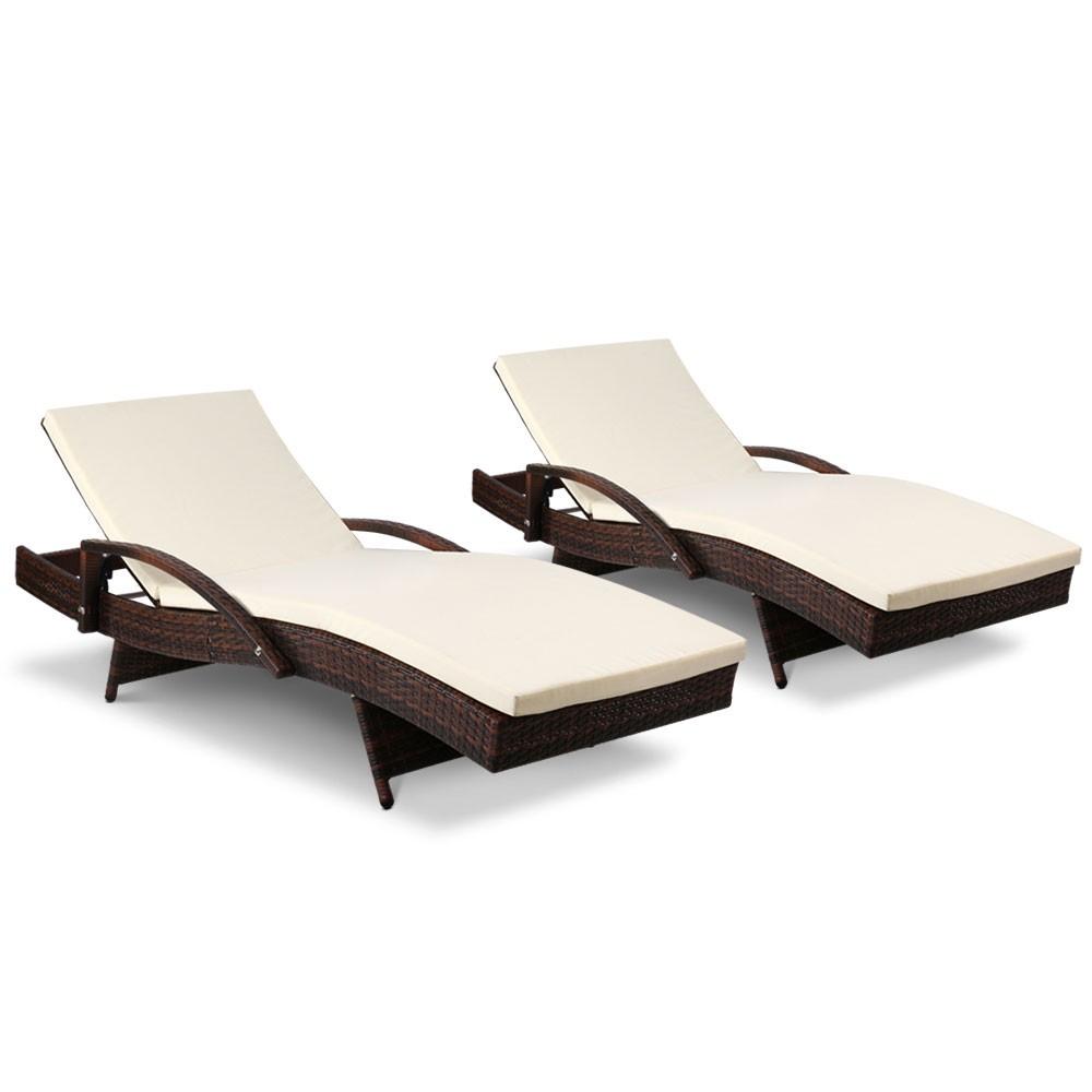 Gardeon Outdoor Sun Lounge Chair with Cushion - Brown