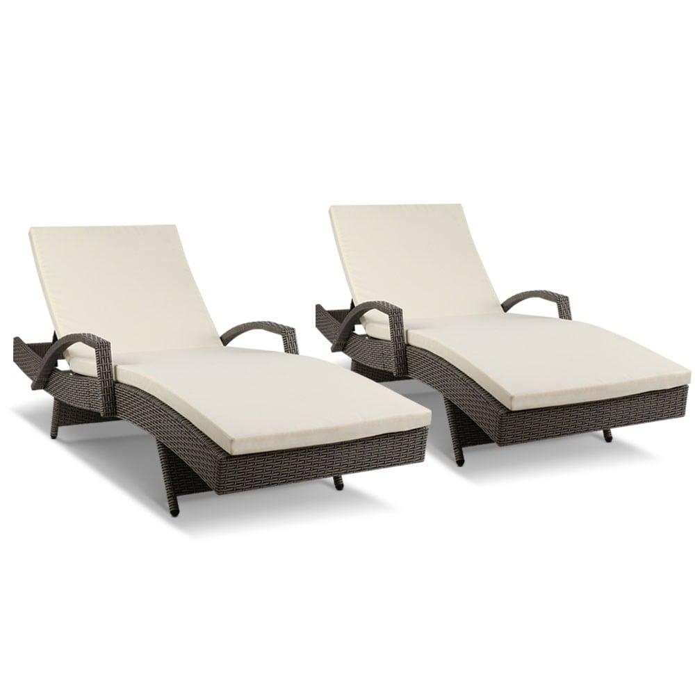 Gardeon Outdoor Sun Lounge Chair with Cushion- Grey
