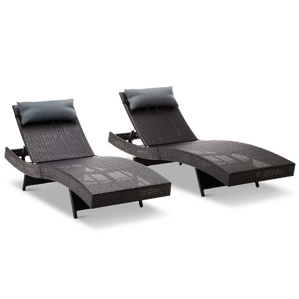 Set of 2 Outdoor Sun P.E Wicker Lounge Black