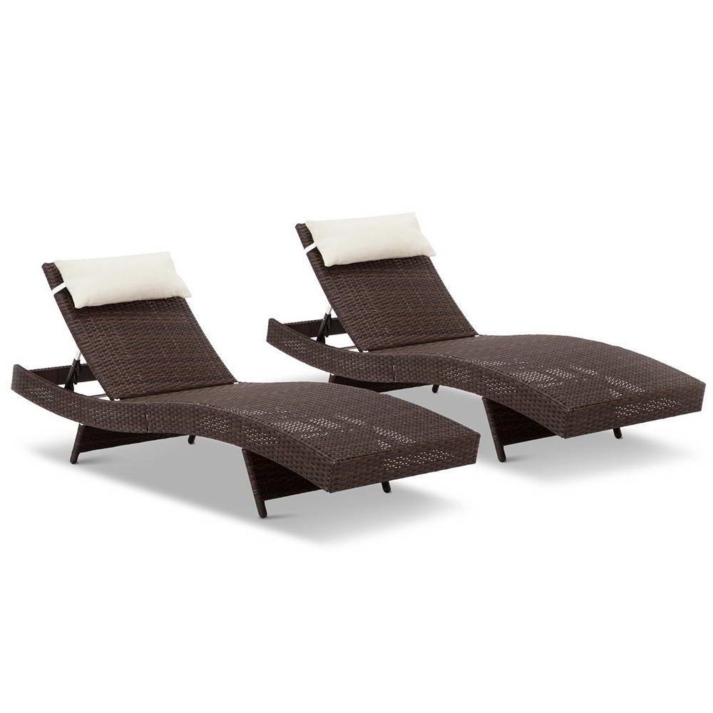 Set of 2 Outdoor Sun Lounge Brown