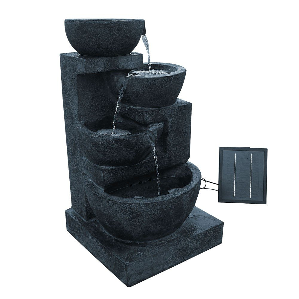 Solar Power Four-Tier Water Fountain Feature with Light - Blue